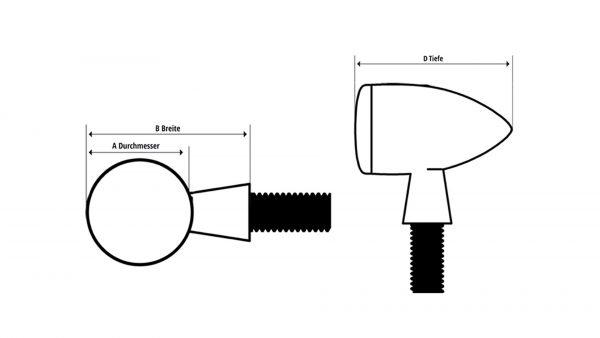 SHIN YO HI-Power LED Blinker MC 1, Alu, schwarz, klares Glas
