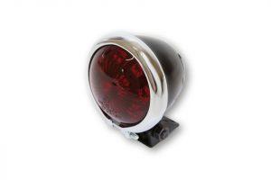 shin_yo SHIN YO LED-bakljus BATES STYLE, svart hus m. kromram, rött glas